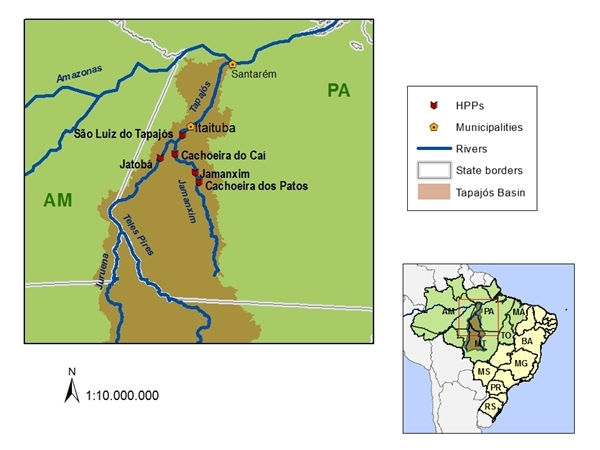 Map of the Tapajos river basin