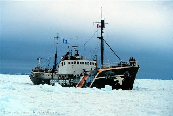 Rainbow Warrior-I sails through Arctic Ice