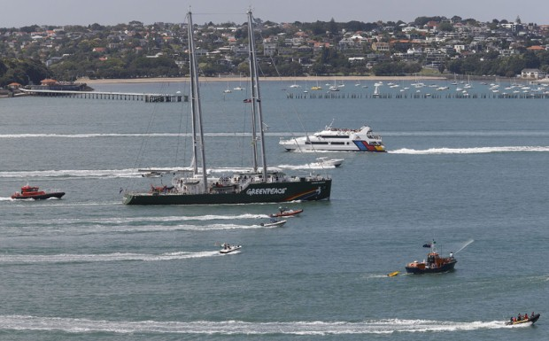 The new Rainbow Warrior sails in to Auckland for the first time