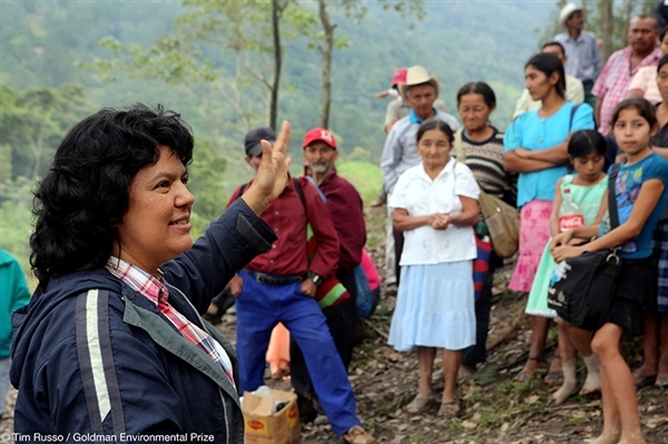 Berta Cáceres in the Rio Blanco region of Honduras. Photo by Tim Russo / Goldman Environmental Prize.