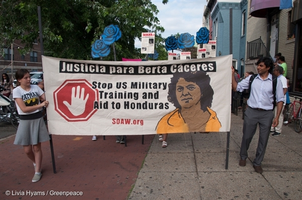 Justice for Berta Cáceres March in Washington D.C.,  15 Jun, 2016,  © Livia Hyams / Greenpeace