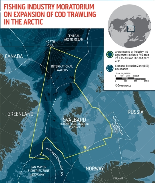 Fishing industry moratorium on expansion of cod fishing in the Arctic © Greenpeace