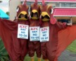 Greenpeace activists protesting against KFC's GE-fed chickens