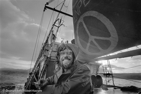 Lyle Thurston, ship doctor on the first Greenpeace voyage, departing Vancouver in 1971, to halt nuclear tests in Amchitka Island. © Greenpeace / Robert Keziere