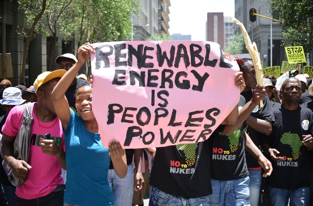 Greenpeace and partner Civil Society organisations marched in Johannesburg to protest against GOvernments Nuclear Expansion plans. A few Hundred protesters to to the streets of Johannesburg and many stopped thier cars and hooted soe even joined in the march. Picture Mujahid Safodien 10 November 2012