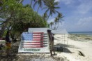 A Greenpeace activist sets up camp on Kwajalein Atoll