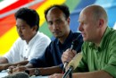 Greenpeace International Campaigner Stephen Campbell at press briefing with Indonesian NGO officials