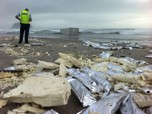 Pieces of insulation and packets of burger patties from a refrigerated container wash up on the beach at Mt Maunganui.