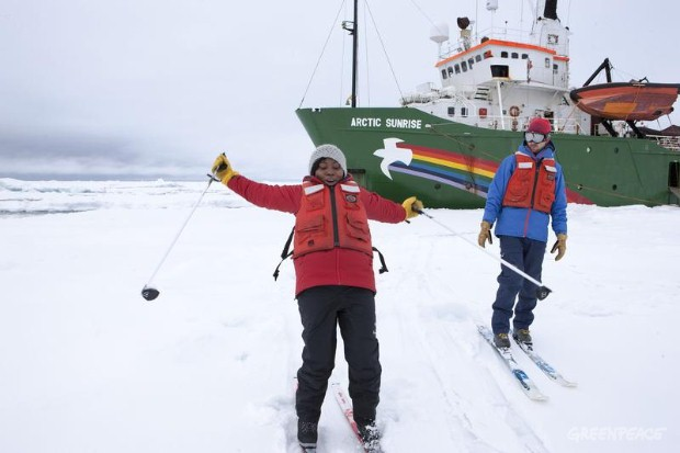 MY Arctic Sunrise in The Arctic