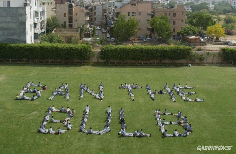 Students of KR Mangalam School in New Delhi form a human art in the shape of 'Ban the bulb' on their school playground. They took a break from their regular schedule to join the Greenpeace 'Ban the bulb' petition drive.