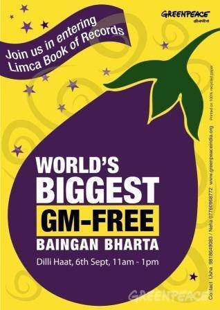 Greenpeace, along with the citizens of India residing in Delhi, is trying to make a world record by cooking the World's Biggest Baingan Bharta.