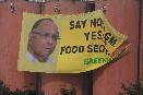 Activists unfurl safe food banner at Food Corporation of India