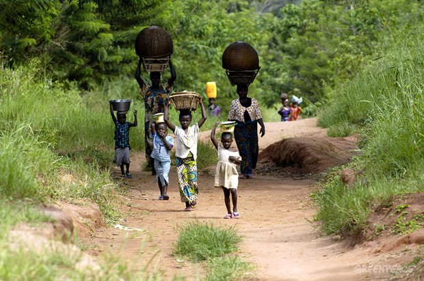 People on a Road in DRC Rainforest