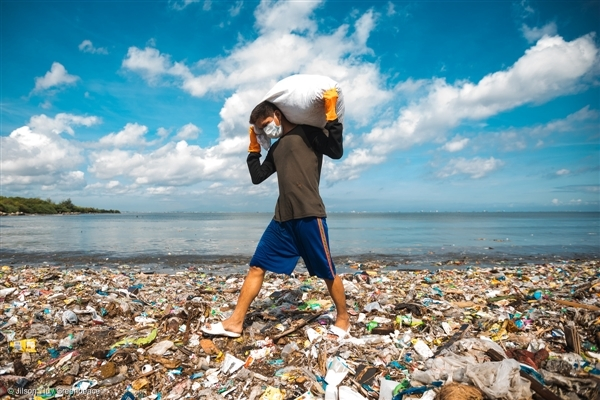A plastic dump yard