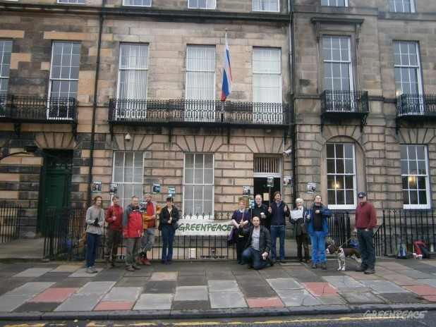 Protest Outside Russian Consulate, Scotland