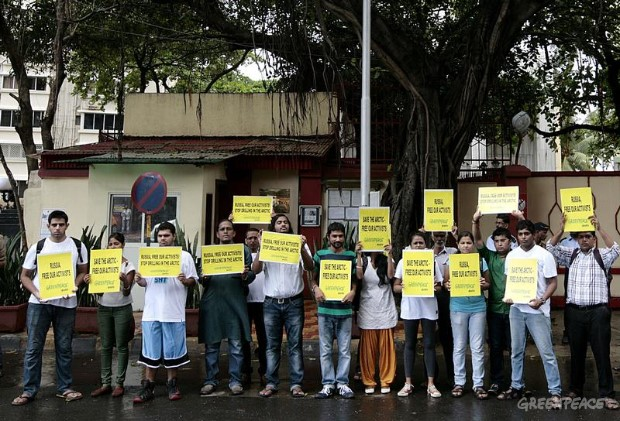 Protest Outside Russian Embassy, India