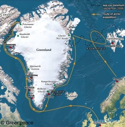 Arctic Sunrise route