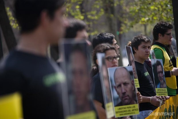 'Arctic 30' Solidarity Protest At The Russian Embassy, Chile