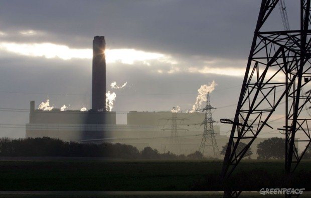 50 Greenpeace volunteers took over Kingsnorth coal-fired power station near Rochester in Kent. They have immobilised the conveyor belt that carries coal into the plant by hitting emergency stop buttons and chaining themselves to machinery. A second gr...