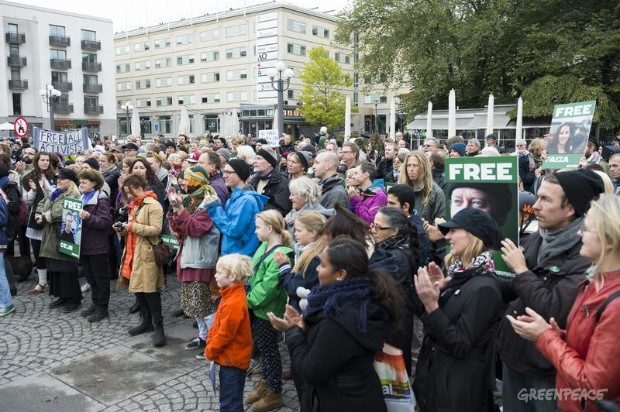 'Arctic 30' Global Day of Solidarity in Stockholm