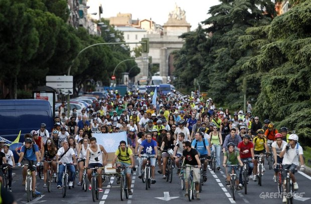 Ice Ride Day of Action in Madrid, Spain