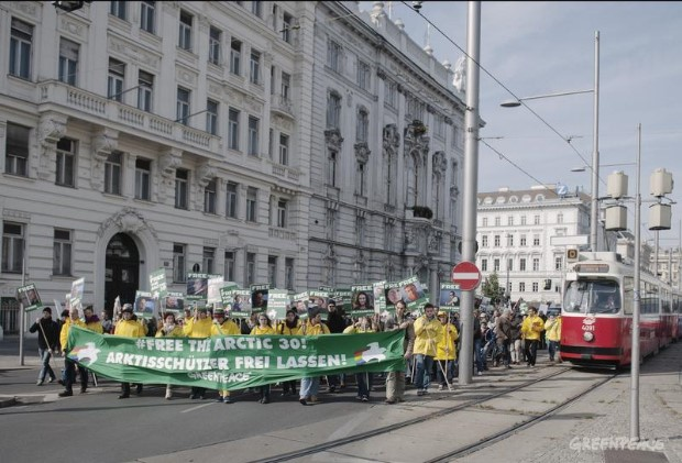 'Arctic 30' Global Day of Solidarity in Austria