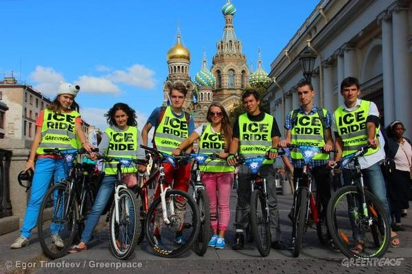 Ice Ride Day of Action in St Petersburg, Russia