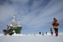 MY Arctic Sunrise at Robeson Channel in Greenland