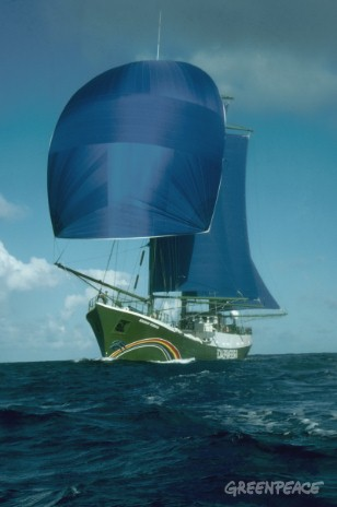 RAINBOW WARRIOR in full sail in South Pacific en route to Moruroa.
