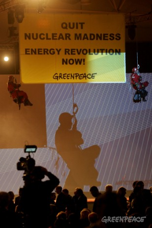 "Two Greenpeace activists this evening unfurled a banner reading ""Stop Nuclear Madness – Energy Revolution Now"" during the opening ceremony of the World Energy Congress attended by Romano Prodi, Italian Prime Minister.  Greenpeace is critical of the re..."