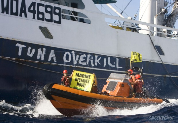 Greenpeace activists take action against US tuna purse seiner Cape Finisterre, part of the overfishing problem in the Pacific.