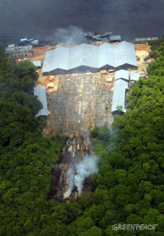 A working sawmill, believed to be illegal on the Lamandau River near Borneo's Tanjung Puting National Park, Indonesia