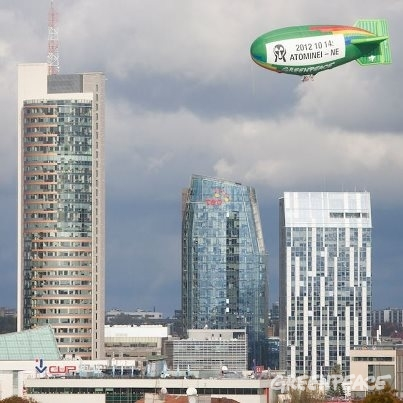 "The Greenpeace airship urges the people of Lithuania to say ""NO"" to nuclear power in Sunday's referendum"