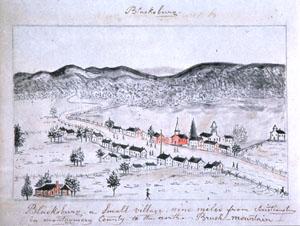 Blacksburg in 1853, the Lewis Miller sketchbook, Courtesy of the Abby Aldrich Rockefeller Folk Art Center, Williamsburg, Virginia (Blacksburg's Bicentennial 1798-1998)