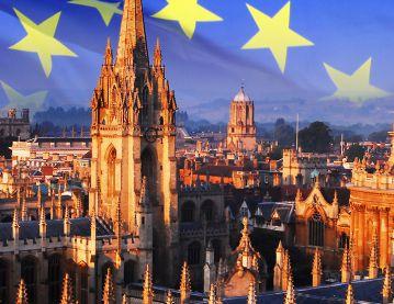 Oxford skyline and EU flag