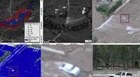 A and B are satellite images of a flooded road in Colorado after the 2013 floods. C was taken by Civil Air Patrol and shows the same submerged road, identifying with a square a stranded truck. D is the image C after it has been classified for water pixels. E is a close-up of C, showing the stranded truck. F is the same truck in a Flickr post.  Image: Guido Cervone / Penn State